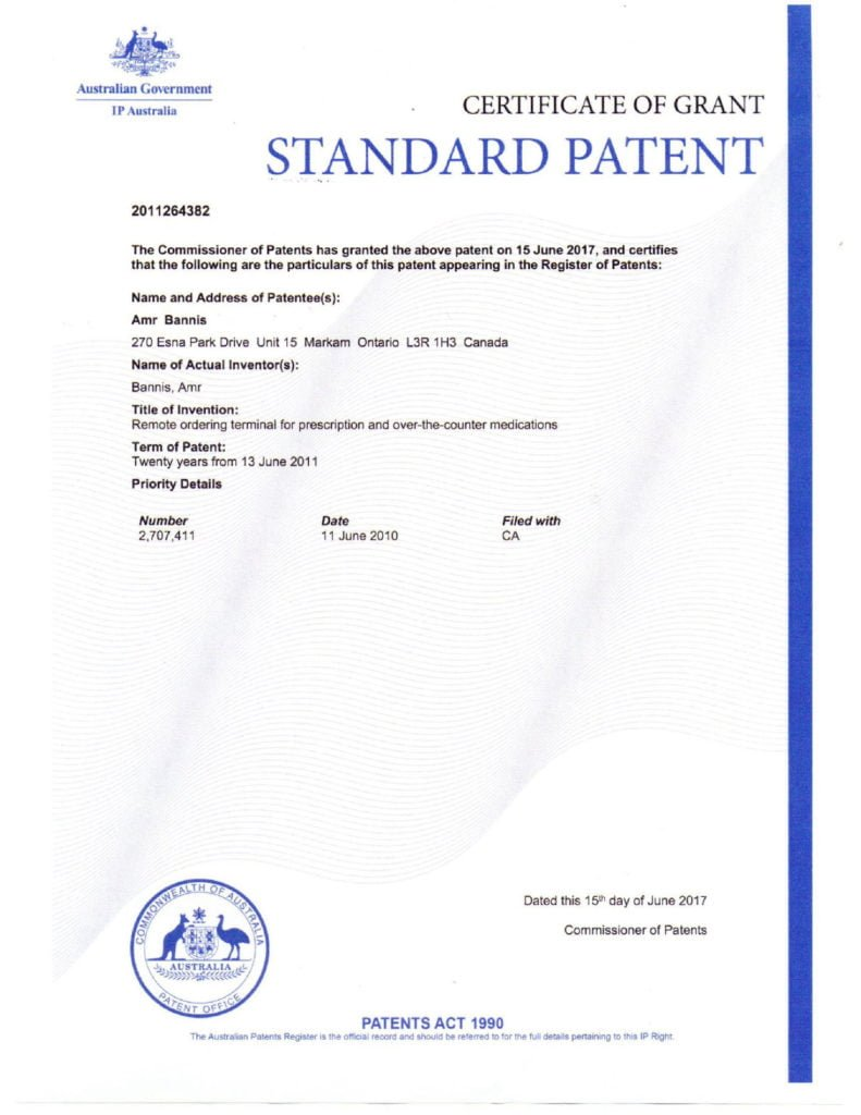 Patent of Australia