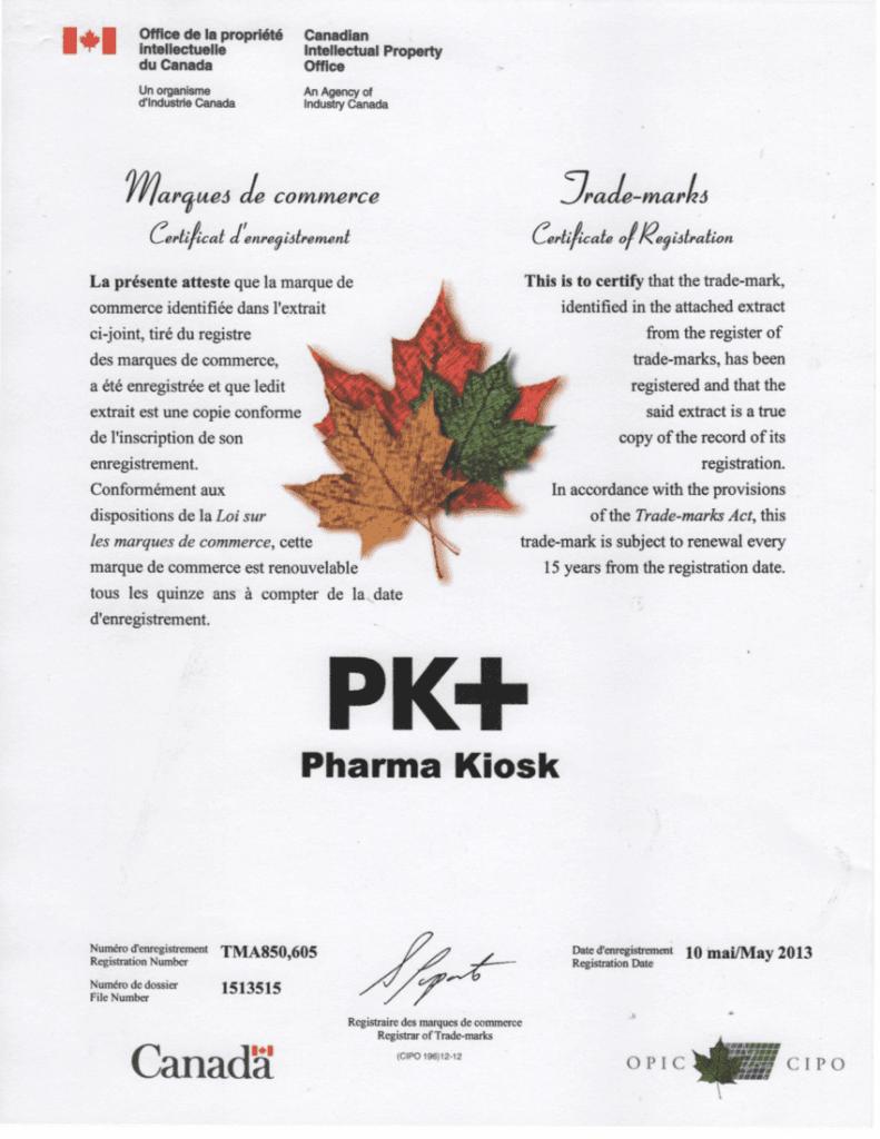 Certificate of Registration in Canada